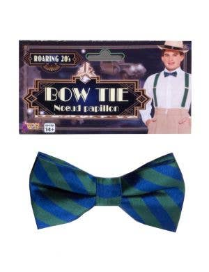 Roaring 20s Green and Blue Striped Costume Bow Tie