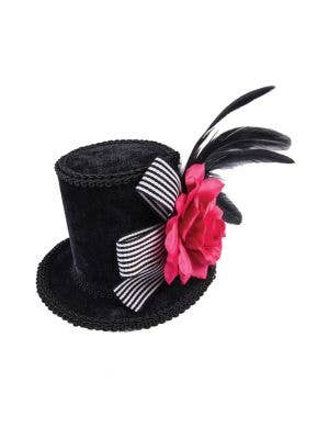 Mini Black Velvet Top Hat Pink Rose with Feathers