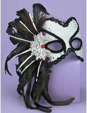 Side Feather Sequined Mask - Silver