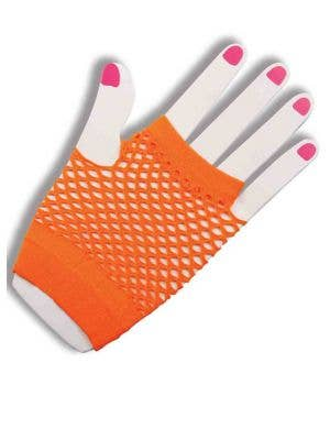 80's To The Maxx Neon Orange Fishnet Gloves