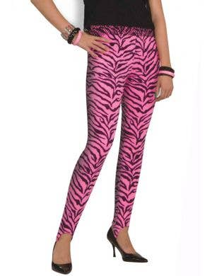 80's Pink Zebra Print Stirrup Pants