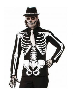 Skeleton Print Men's Halloween Costume Jacket