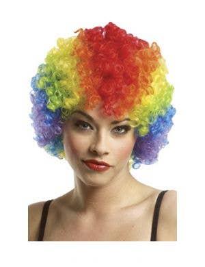 Classic Women's Rainbow Afro Clown Costume Wig
