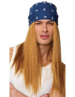 Axel Rocker Men's Long Blonde Costume Wig with Bandana