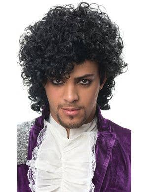 Iconic Pop Star Prince Black Curly Men's Costume Wig