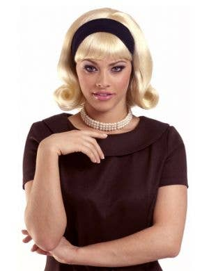 1950's Women's Blonde Bob Costume Wig With Headband