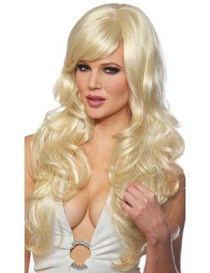 Delovely Women's Deluxe Long Curly Blonde Costume Wig
