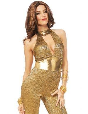 Disco Diva Women's Gold 1970's Fancy Dress Costume