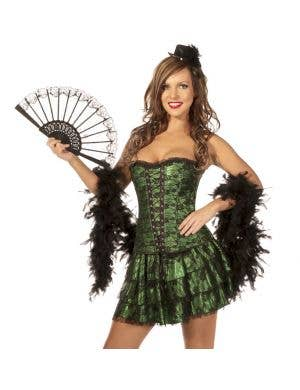 Latin Sexy Corset and Skirt Set in Green