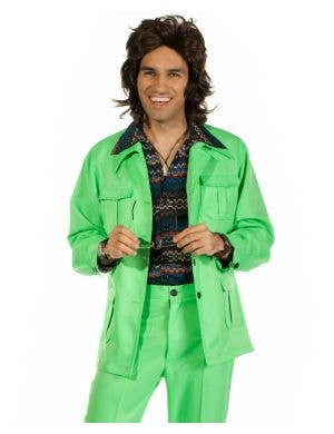 70's Deluxe Retro Leisure Suit Costume in Green