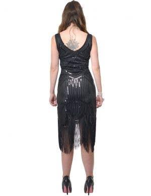 Dazzling Womens Deluxe Black 1920s Gatsby Dress Costume