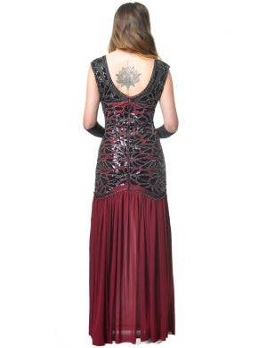 Long Maroon 1920s Womens Hollywood Gatsby Costume