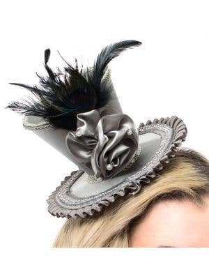 Mini Silver Satin Top Hat with Peacock Feather
