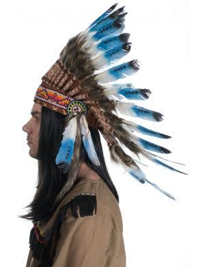 American Indian Authentic Blue and White Feather Headdress
