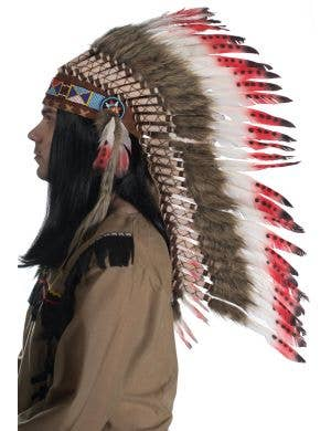 American Indian Deluxe Authentic Red and Brown Feather Headdress