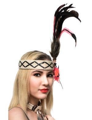 American Indian Deluxe Pink and Black Feather Headband