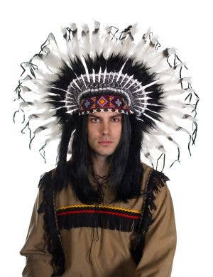 Indian Chief Deluxe Black and White Feather Headdress