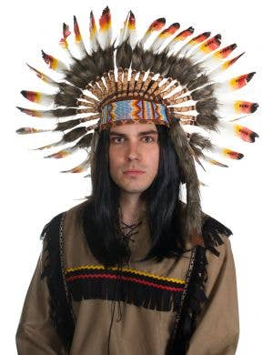 Indian Chief Authentic Red and Yellow Feather Headdress