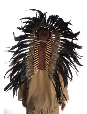 Native Indian Deluxe Authentic Brown and Black Feather Headdress