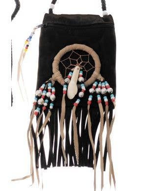 American Indian Black Suede Pouch Costume Accessory