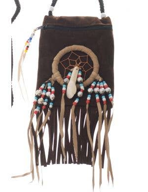 American Indian Brown Suede Pouch Costume Accessory