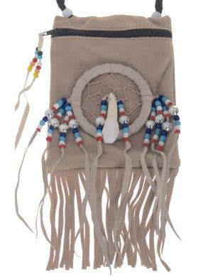 American Indian Cream Suede Pouch Costume Accessory