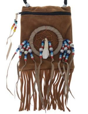 American Indian Dark Tan Suede Pouch Costume Accessory