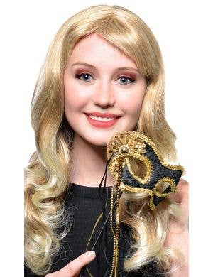 Elegant Hand Held Black Velvet and Gold Braid Masquerade Mask