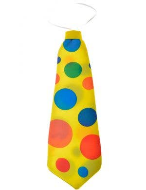 Giant Satin Yellow Polka Dot Clown Tie Costume Accessory