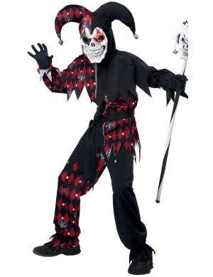 Sinister Black and Red Jester Boy's Halloween Costume