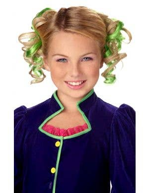 Curly Green Clip In Girl's Hair Extensions Costume Accessory