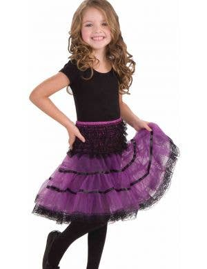 Lace Trimmed Girls Petticoat - Purple and Black