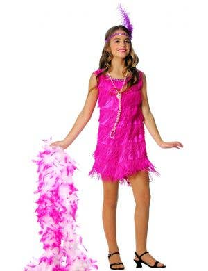 1920's Hot Pink Girl's Flapper Fancy Dress Costume