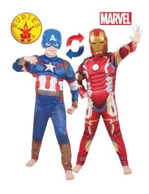 Reversible Iron Man to Captain America Kids Costume