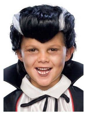 Dracula Boy's Black and White Vampire Costume Wig