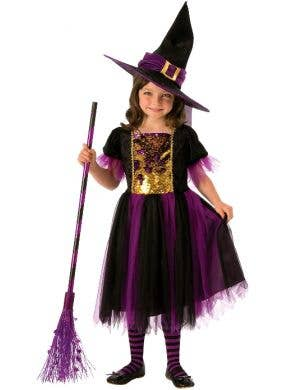 Colour Magic Girls Purple Witch Halloween Costume