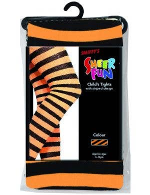 Striped Black and Orange Girls Full Length Stockings
