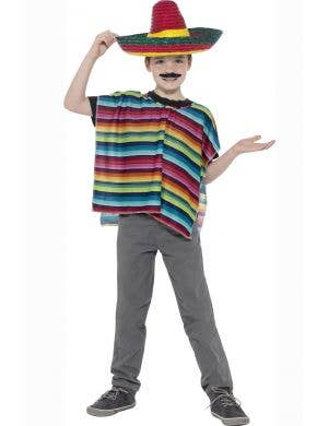 Colourful Mexican Poncho and Sombrero Kids Costume Kit