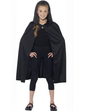 Basic Kids Hooded Black Costume Cape