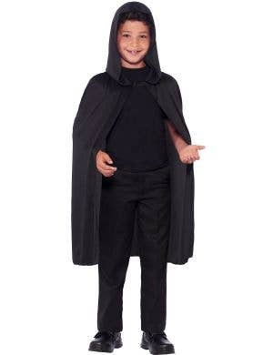 Basic Kids Hooded Black Costume Cape