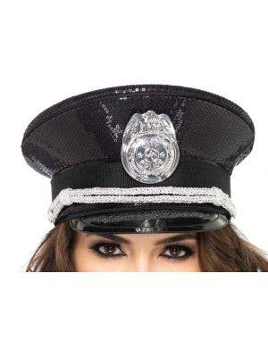 Sequined Black Deluxe Police Costume Hat