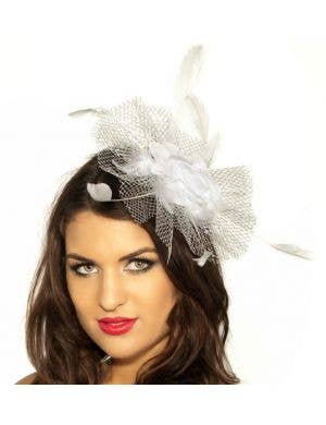 Glitzy White Burlesque Fascinator
