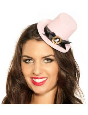 Mini Top Hat in Pink with Cameo