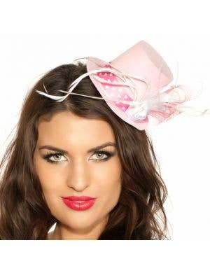 Pink Hearts Burlesque Mini Top Hat
