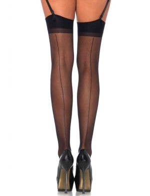 Sheer Thigh High Black Stockings With Backseams