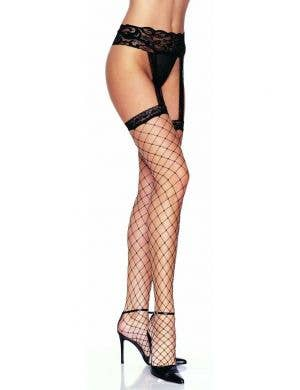 Fence Net Black Thigh High Stockings with Garter Belt