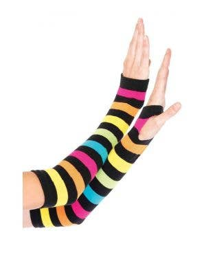 Neon Rainbow Gauntlet Gloves Costume Accessory