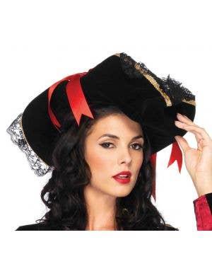Swashbuckler Deluxe Black Velvet Pirate Wench Hat