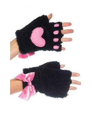 Kitty Paw Fingerless Gloves Costume Accessories