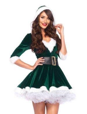 Mrs. Claus Green Velvet Sexy Women's Christmas Costume